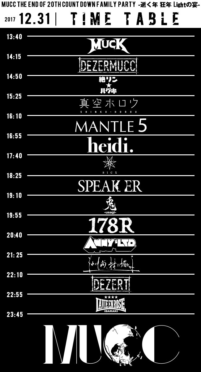 MUCC THE END OF 20TH COUNT DOWN FAMILY PARTY -逝く年 狂年 Lightの宴- TIME TABLE